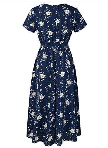Chiffon Dress Bohemian Loose Prints Blue Women V Navy Floral Coolred Relaxed Neck Fx56wwzq