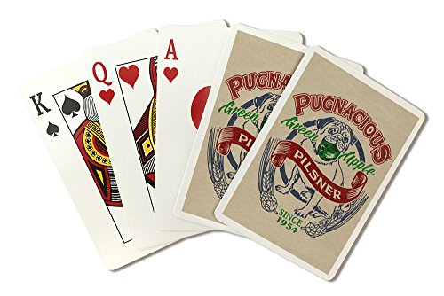 Pug - Green Apple Pilsner - Retro Beer Ad (Playing Card Deck - 52 Card Poker Size with Jokers)