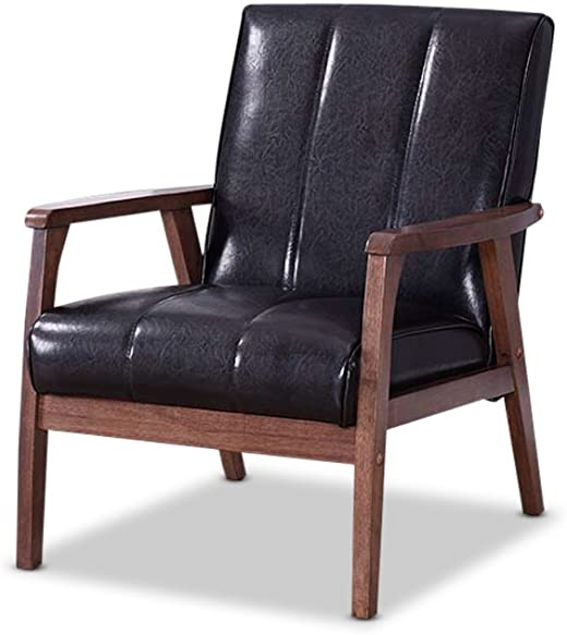 Baxton Furniture Studios Nikko Mid-Century Modern Scandinavian Style Faux Leather Wooden Lounge Chair