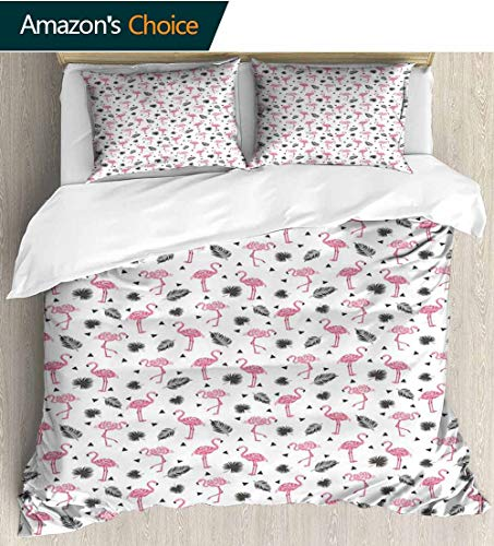 - Flamingo Full Queen Duvet Cover Sets,Watercolor Art Flamingos with Flower Motifs Coconut Tree Leaves Triangles Duvet Cover with Pillowcases Child Bedding Sets, 90