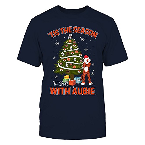 (Auburn Tigers - Tis The Season To Roll With Aubie - District Men's Premium T-Shirt - Officially Licensed Fashion Sports Apparel)