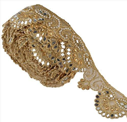 BridalMary Hand Beaded Dress Bridal DIY Wedding Sash Applique 1 YD Golden Craft (Embellished Ribbon)