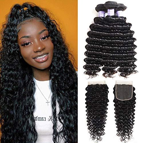 AMZTMY Brazilian Virgin Deep Wave 3 Bundles with Closure 8A 100% Unprocessed Deep Curly Human Hair Bundles with 4×4 Lace Closure Free Part Natural Black (14 16 18+12 Closure)