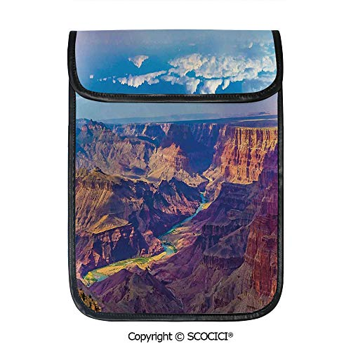 SCOCICI Tablet Sleeve Bag Case,Aerial View of Epic Grand Canyon Activity of River Stream Over Rock Plateau Print,Pouch Cover Cases for iPad Pro 12.9 in and Any Tablet