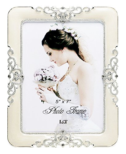 (L&T Eternity Picture Frame Silver Metal with Ivory Enamelled and Crystals 5 x 7 Inch)