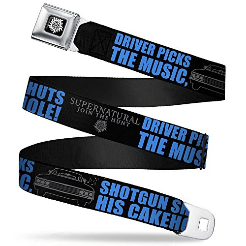 Buckle-Down Seatbelt Belt - SUPERNATURAL DRIVER PICKS THE MUSIC-SHOTGUN SHUTS HIS CAKEHOLE! Black/Gray/Blue - 1.5