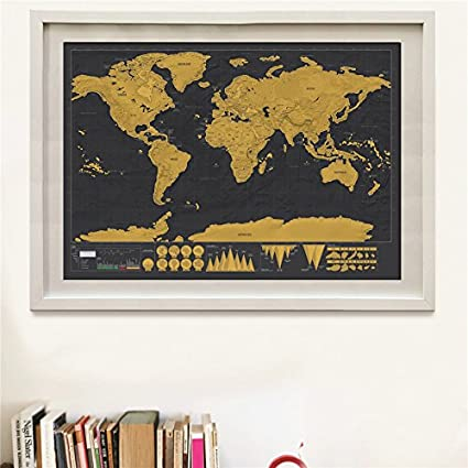 Buy Scratch Map Travel Map Personalized Deluxe Home World Map Poster - Scratch map frame