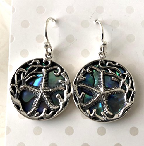 (Starfish Star fish Abalone Shell Sterling Silver Earrings AE75)