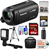 Panasonic HC-V380 Wi-Fi HD Video Camera Camcorder with 64GB Card + Case + Tripod + LED Light + Reader + Kit