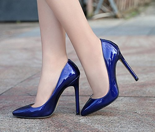 Womens Candy PU Blue Renly Leather Dress Color Slip Pumps On qdtnOBwHx