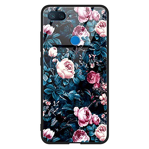 Eouine Xiaomi Mi 8 Lite Case, [Anti-Scratch] Shockproof Patterned Tempered Glass Back Cover Case with Soft Silicone Bumper for Xiaomi Mi 8 Lite Smartphone (Flowers 2)