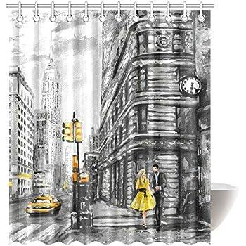 InterestPrint Vintage Waterproof Shower Curtain Decor Street View Of NYC New York City Yellow
