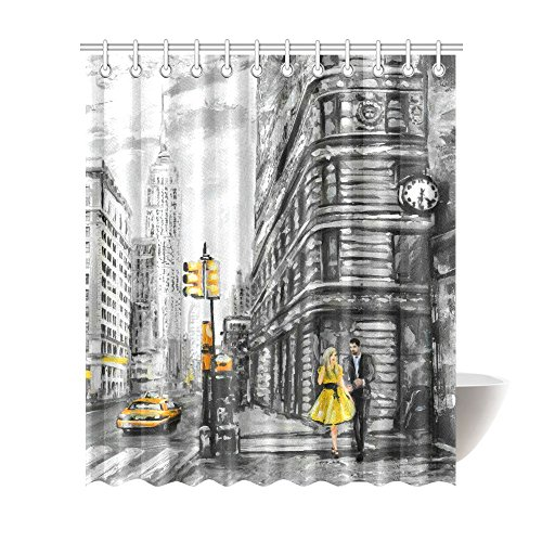 InterestPrint Vintage Waterproof Shower Curtain Decor, Vintage Street View of NYC New York City Yellow Taxi Fabric Bathroom Set with Hooks, 72(Wide) x 84(Height) Inches