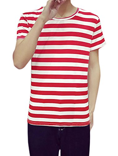 [uxcell Man Short Sleeves Crew Neck Stripes T-Shirt L Red] (Pugsley Addams Costume)