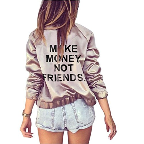 Make Money Not Friends Farktop Women's English Floral Print BF Style Jacket Bomber Jacket (XXL, Pink) 51tKLwsZdrL