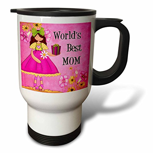3dRose Worlds Best Mom in Pink for Mothers Day Travel Mug, 14-Ounce, Stainless Steel