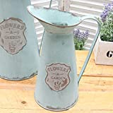 VANCORE Shabby Chic Small Metal Jug Flower Pitcher Vase for Home Decoration