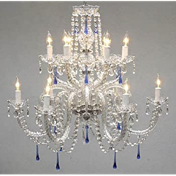 candle chandelier light crystal lights fixture hotel maria lobby item for lustre lamp theresa restaurant blue cristal foyer