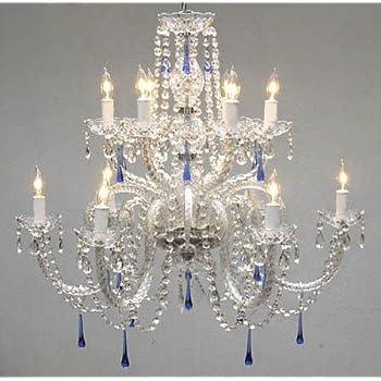 light long chandeliers ideas blue chandelier crystal crystals lighting thejots net x tier