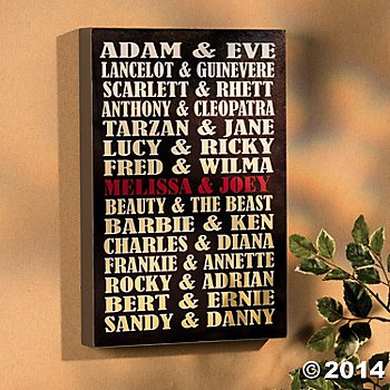 Personalized Famous Couples Wall Sign - Great Gift Idea