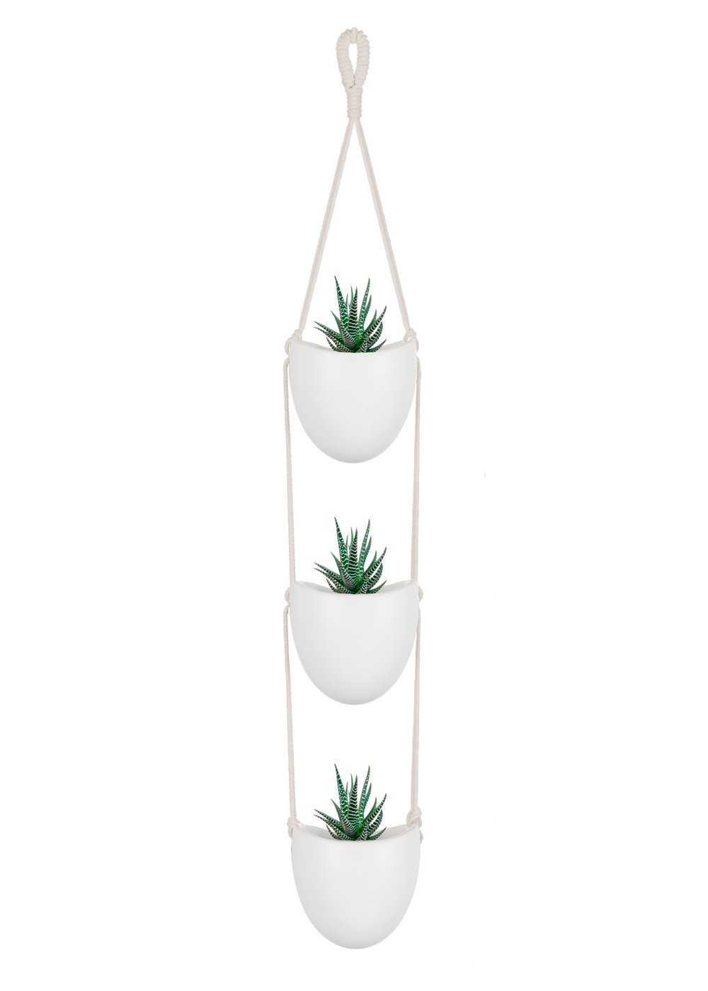 Mkouo Ceramic Hanging Planter with 3 Flower Pots Succulent Air Plant Holder Wall Decor