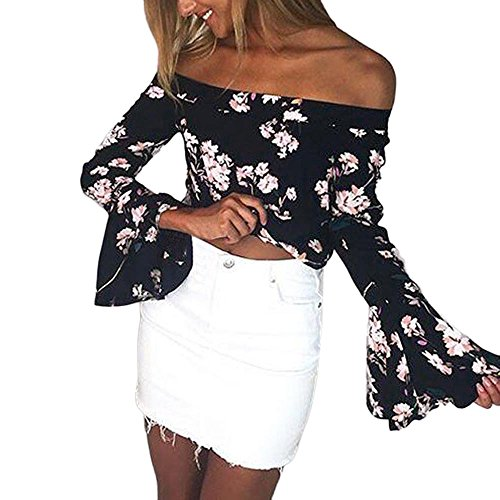 Black Long Sleeved Silk Top (Women Blouse,ST.Dona Hot Sale Summer Tops Off Shoulder Neck Floral Printed Flare Long Sleeved T-Shirt Blouse (S, Black))