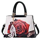 Monique Women Fashion Handbag Rose Flower Print Shoulder Bag Small Travel Tote Cross-body Bag Satchel 449 White