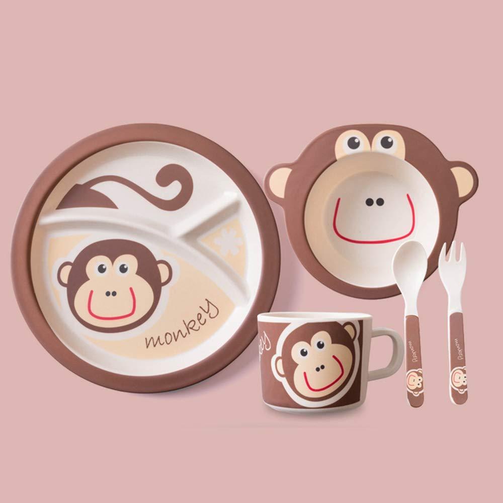 Nouveau singe 5 pi/èces ensemble//set petit singe vaisselle bambou fibre panda couverts ensemble plat plat bande dessin/ée cuill/ère ensemble conteneur de nourriture-papillon