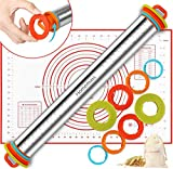 Rolling Pin, Homemaxs Rolling Pin with Thickness Rings and Pastry Mat Set- 4 Removable Thickness Rings, Durable Stainless Steel Rolling Pins for Baking Fondant Pastry Cookies Christmas