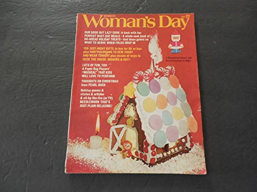Woman's Day Dec 1972 Gingerbread House To Make; Pearl Buck; Needlework ()