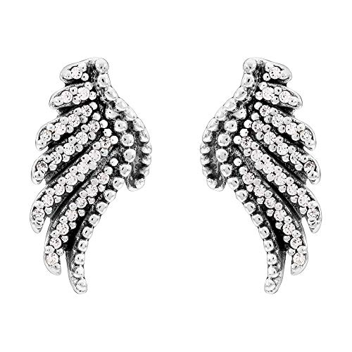 Pandora Majestic Feathers Stud Earrings - Sterling Silver with Shimmering Cubic Zirconia Stones...