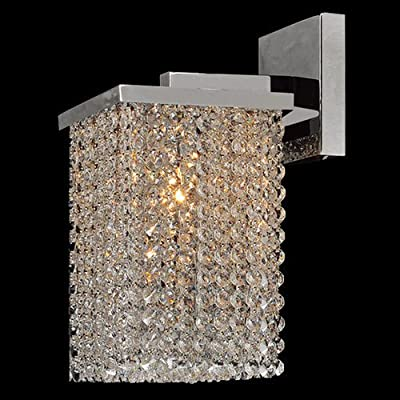 """Worldwide Lighting W23765C6 Prism 1 Light 8"""" Wall Sconce in Chrome with Clear Cr,"""