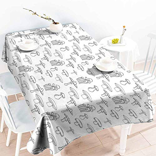 Spill-Proof Table Cover,Mushroom Collection of Different Mushrooms Doodle Style Monochrome Display Organic Garden,Table Cover for Dining,W60x120L Black White