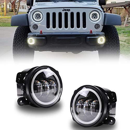 Jeep Wrangler Fog Lamp - AUSI 4 inch LED Fog Lights with White Halo Angel Eye Fog Lamps Projector Headlight Driving Offroad Lamp for Jeep Wrangler JK Dodge Chrysler Front Bumper Lights