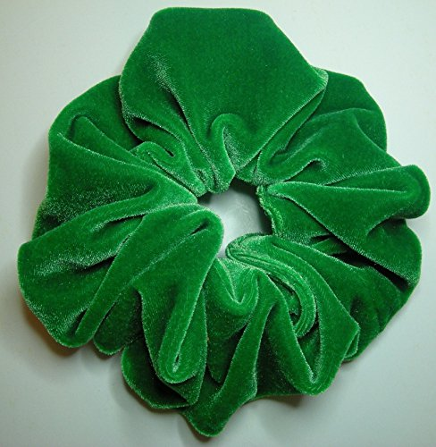 Kelly Green Velvet Hair Scrunchy-Large - Made in the USA -