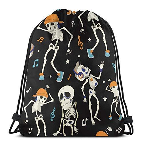 Dancing Skeletons Boy Party Halloween Drawstring Bags Gym Bag Backpack Shoulder -