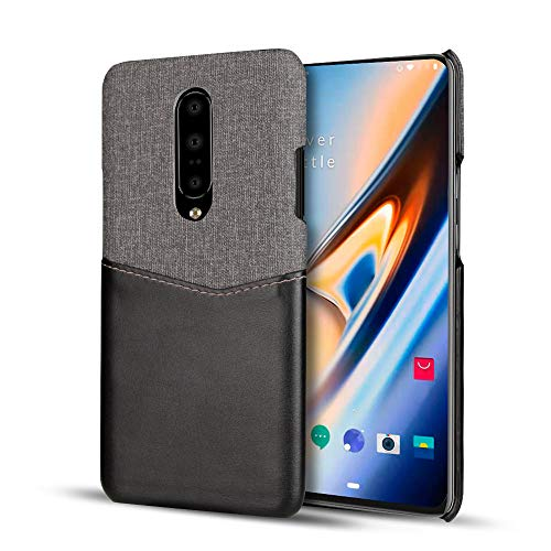 (Sun Van Wallet Case for OnePlus 7 Pro, Ultra Slim Lightweight Luxury Genuine PU Leather Shockproof with Credit Card Holder Pocket Slot Hard Protection Cloth Back Cover for OnePlus 7 Pro (Black))