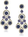 Miguel Ases Raised Multi-Swarovski Large Chandelier Drop Earrings