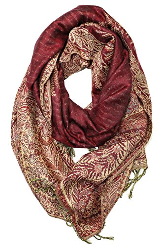 - Achillea Luxurious Big Paisley Jacquard Layered Woven Pashmina Shawl Wrap Scarf Stole (Burgundy)