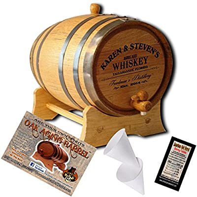 Personalized American Oak Aging Barrel - Design 063: Barrel Aged Whiskey