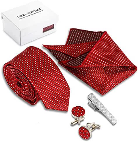 Zakka Republic Mens Skinny Tie, Cufflinks, Pocket Square and Tie Clip Set