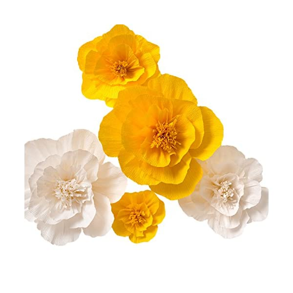 KEY-SPRING-Paper-Flower-Decorations-Large-Crepe-Paper-Flowers-Yellow-White-Set-of-5-Handcrafted-Flowers-for-Wedding-Backdrop-Nursery-Wall-Decor-Bridal-Shower-Baby-Shower
