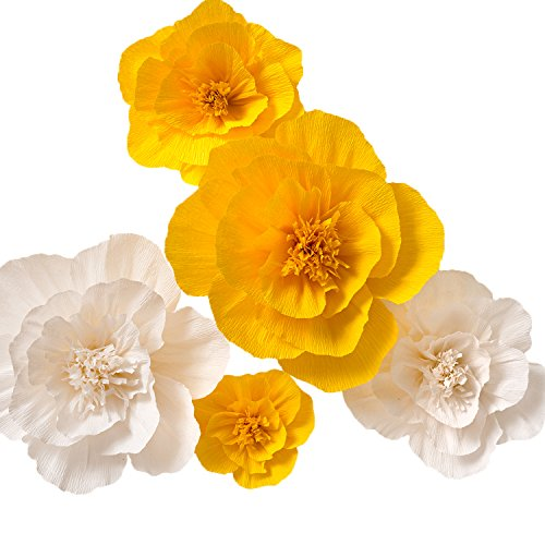 KEY SPRING Paper Flower Decorations, Large Crepe Paper Flowers (Yellow, White, Set of 5), Handcrafted Flowers for Wedding Backdrop, Nursery Wall Decor, Bridal Shower, Baby Shower ()
