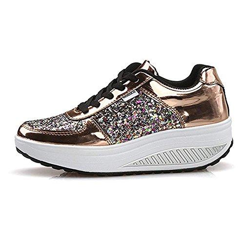Baskets Sports gold Femmes Marche de 3 Chaussures Respirant qwFBqXf