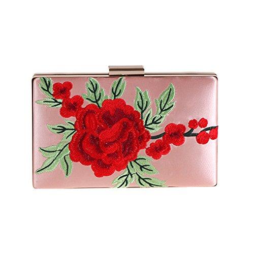 la pour Simple sac soirée brodé Sac Sac Soirée main bal Pink Pochette Femmes Rose Sac mariage de de à q7gxwPnS7