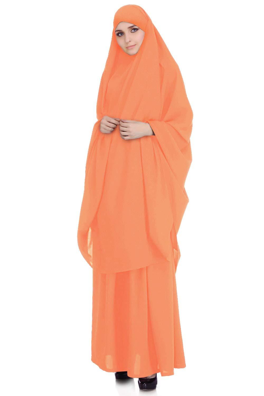 MyBatua 2 Piece Jilbab/Khimar & Skirt Set in Breathable Soft Nida Fabric, Free Size, Batwing Sleeves (Orange)