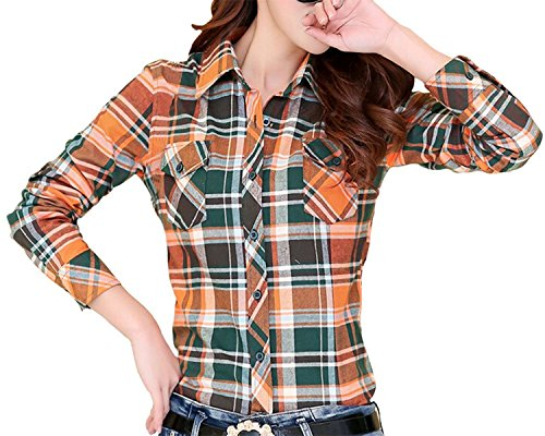 L-Asher Lasher Female Cotton Casual Plaid Button-up Shirts (US 6-8, Orange)