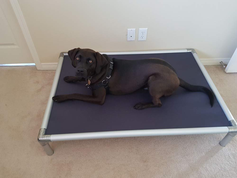Kuranda All-Aluminum (Silver) Chewproof Dog Bed - XL (44x27) - 40 oz. Vinyl - Smoke
