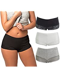 Womens Boyshort Panties with Lace Bottom (3-Pack)