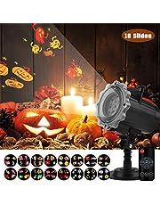 Proiettore Luci Halloween Esterno Qomolo Proiettore Lampada LED 16 Diapositive con Telecomando, per Illuminazione Decorazione Interna Esterna, Ideale per Natale Halloween Feste Compleanno Carnevale